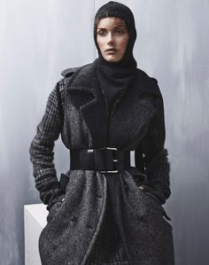 Stina Olsson by Mikael Schulz for Grazia Italia 19th November 2014 [+Knits +Style +Belt +Winter +Grey]
