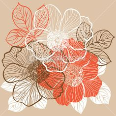 用鲜花牡丹花卉背景 — 图库矢量图像© Elenita #18892821