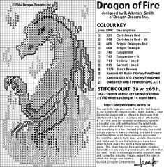 Free Cross Stitch Pattern - Dragon of Fire
