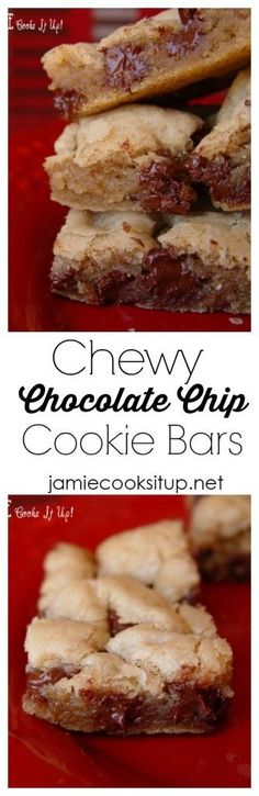 Chewy Chocolate Chip Cookie Bars from Jamie Cooks It Up!