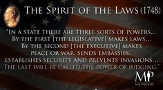 L'Espirit des Lois - Lovens ånd  The spirit of the Laws (1748)