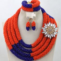 Luxury 4 Layers Mix Orange and Blue Nigerian Wedding African Beads Jewelry Set Crystal Braid Necklace Set Free Shipping WA680