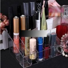 Domire Clear Acrylic 24 Lipstick Holder Display Stand Cosmetic Organizer Makeup Case: Amazon.co.uk: Lighting