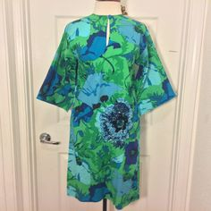 Vintage Ken Scott 60s Italian Tropical Print Cotton Dress/ Sequin/ Pockets Sz S #KenScott #Shift