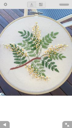 broderie vegetal floral feuilles fougères fern with flowers embroidery vegetal floral embroidery leaves ferns fern with . Crewel Embroidery Kits, Silk Ribbon Embroidery, Embroidery Needles, Hand Embroidery Patterns, Vintage Embroidery, Floral Embroidery, Cross Stitch Embroidery, Embroidery Designs, Beginner Embroidery