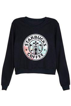 "ROMWE | ""STARBUCKS"" Print Long-sleeved Black Sweatshirt"