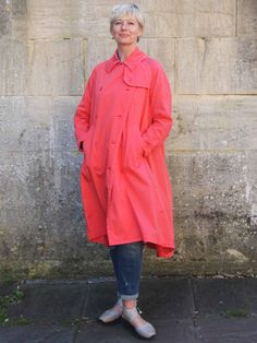 European Culture Cotton Trench Coat in Coral or Ice Adventure Outfit, Uk Size 16, Fishtail, Trench, Double Breasted, Cool Designs, Duster Coat, Raincoat, Coral