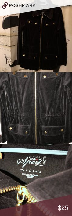 Style & co. Black velvet zip up jacket Adorable black velvet zip up jacket size small. No rips or stains. Wednesday are my mailing day unless discussed otherwise. Style & Co Jackets & Coats