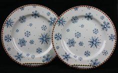 Sakura SNOWFLAKE Debbie Mumm Salad Dessert Plates SET OF 2 Christmas Blue White #Sakura