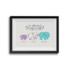 Baby Elephant, Nursery Art, Children Room, Nursery Decor, Personalised Framed Family Name, Family Motivation Quote, Printed, Digital Art..  https://www.etsy.com/uk/listing/241609433/baby-elephant-nursery-art-children-room?ref=shop_home_active_1