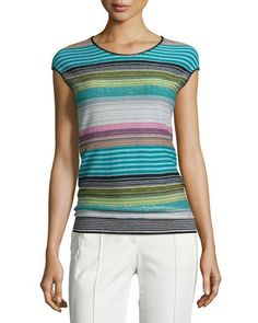 ESCADA STRIPED CAP-SLEEVE KNIT SWEATER, CERULEAN. #escada #cloth #