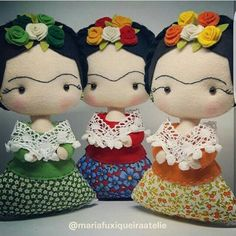 Mother & Daughter Sights: Molde Frida_By Katia Callaça Sewing Crafts, Sewing Projects, Child Doll, Kids Dolls, Soft Dolls, Fabric Dolls, Handmade Toys, Doll Patterns, Felt Crafts
