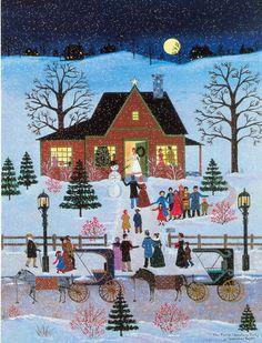 Jane Wooster Scott 'The Family Christmas Party' Canvas Art Christmas Scenes, Christmas Past, Family Christmas, Xmas, Primitive Folk Art, Naive Art, Christmas Paintings, Winter Art, Christmas Illustration