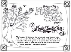 A FREE PRINTABLE coloring page and devotion for the Parable of the Mustard Seed.  Great for Sunday School and personal quiet time.