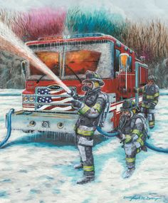 FIRE AND ICE depicts firefighters in freezing weather fighting a fire which is reflected in the windshield of the fire truck. You can count hundreds of ice cycles on the truck formed from the spray from the fire hose. Firefighter Images, Firefighter Home Decor, Firefighter Shirts, Volunteer Firefighter, Firefighters, Firemen, Volunteer Fire Department, Fire Prevention, Fire Equipment
