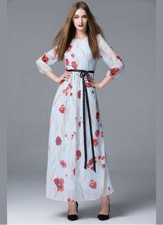 d5761d1a4e1 Designer Sky Blue   Red Colour Georgette Western Wear Women s Fashion  Dresses