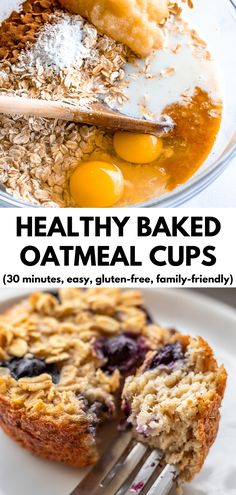 Healthy baked oatmeal cups are a simple, convenient breakfast for busy families on the go. They're delicious and kid-approved! Healthy Oatmeal Breakfast, Healthy Oatmeal Recipes, Healthy Muffins, Good Healthy Recipes, Healthy Breakfast Recipes, Healthy Baking, Baby Food Recipes, Cooking Recipes, Breakfast Ideas