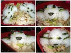 Rice shaped into crabs laying on top of chicken salad.