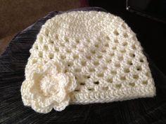03 month baby girl hat by Crochetinsanity on Etsy