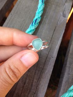RESERVED - Aqua Seaglass Ring with Textured Double Band by LowTideLanding on Etsy