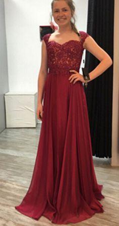 Natural Floor-length Appliques A-line Chiffon Prom Dresses 2017