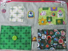 Girl Scout Camp Cot organizer - I sold two of these on Etsy.  I include GS pencil and/or pen.  GS material and patches and fun buttons used. Ties to end of bunk bed or can be fastened under the mattress on the link springs.