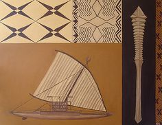 This painting 'Poto Tele' is named for in honor of the skilled craftsmen and women who built and used the Samoan Alia a double hulled sail boat, the Fa'alaufa'i the war club, and the Siapo (a.k.a. tapa) chosen for this painting. The tightness and lines throught this painting are to remind the viewer of the skill and craftmanship that went into the construction of these items, while the loose siapo design on the end is placed to show the printwork of siapo.