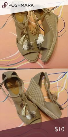 Cato size 11 tan wedges Tan Suede size 11 wedges cute for spring and summer Cato Shoes Wedges