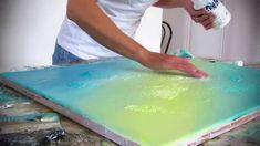 Démonstration de peinture abstraite (1) - Abstract painting - fond en ac...