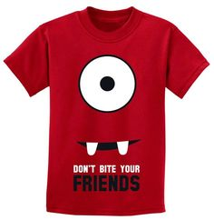 Friendly Monster, Don't Bite Your Friends Full Face Red Child's Infant or Toddler T-Shirt 6mos, 12mos, 18mos, 24mos, 2T, 3T, 4T Free Ship. $16.99, via Etsy.
