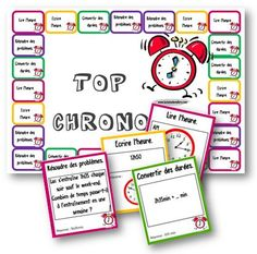 Un petit jeu pour travailler les durées lors des ateliers de mathématiques. Le jeu comporte 4 types de questions : lire l'heure, écrire l'heure, convertir des durées, résoudre des probl…