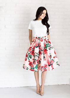 White Top and Floral A-line Skirt