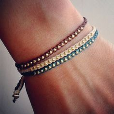 Friendship bracelet beaded bracelet- nylon cord with gold glass bead. $13.00, via Etsy.