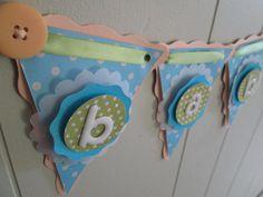 Baby Shower Decoration, Baby Shower Banner, Boy Banner, Baby Boy Photo Prop. Blue. Lime Green.  Orange.