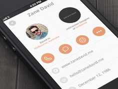 Profile Sreen - Mobile interface app UI UX