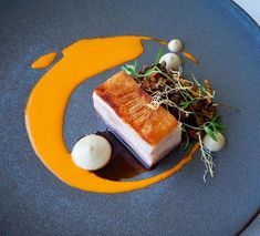 Pork belly, lentils,
