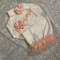Newborn Girl Take Home Outfit, Ivory Layette Gown Cap with Blush Flowers, Newborn Gown Gifts For Newborn Girl, Baby Outfits Newborn, Baby Girl Newborn, Gowns For Girls, Toddler Girl Dresses, Dress Girl, Toddler Girls, Baby Girls, Girls Coming Home Outfit