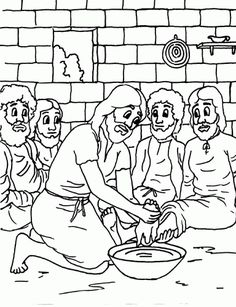 Jesus Washes the Disciples Feet Coloring Page · Washing