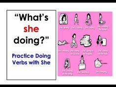 English Corner Time: What's she doing?  Easy English Conversation Practice. http://englishcornertime.blogspot.com