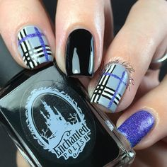 Black, Purple, and Grey Plaid Nails