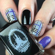 Black, Purple, and Grey Plaid Nails