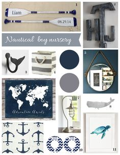 Navy and Grey Nursery Inspiration, nautical & whales