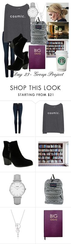"""Day 23 - Group Project"" by raindanger-coffee ❤ liked on Polyvore featuring Paige Denim, Juvia, Skechers, CLUSE, JanSport and Sloane Stationery"