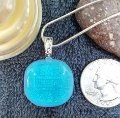 """Cool Pool"", Holistic Glass Pendant with chain"