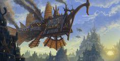 """Skywhale"" by Mark Bulahao | #SciFi #Steampunk #Airship"