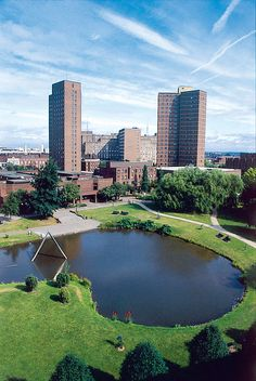Promotional shot of Aston University campus (undated). Aston University, River, Activities, History, Places, Outdoor, Outdoors, History Books, Outdoor Games