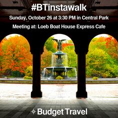 Hey, New York area Instagrammers! Join us this Sunday for our very first ‪#‎Instawalk‬ in Central Park! Bring your friends! RSVP here: http://www.meetup.com/Budget-Travel-Instagram-Meetup-BTinstawalk/ & Click here for more details: http://www.budgettravel.com/instagram-contest