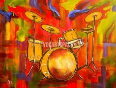 Abstract Drums Abstract Wall Art Oil Painting On Canvas Acrylic Paint Wood Work For Home Decor-in Painting & Calligraphy from Home & Garden on Aliexpress.com | Alibaba Group