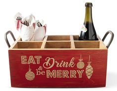 Our exclusive holiday wine carrier is made from recycled wood and features 6 fully-enclosed slots, metal handles, red stain on the 4 exterior sides, and a festive hand-painted message on the front.