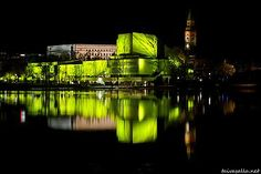 Helsinki: The Finlandia Hall illuminated by Changing Landscape, a light installation during the Lux Helsinki event. Finland Travel, White Lilies, Light Installation, Winter Travel, Helsinki, Classical Music, Denmark, Norway, Opera House